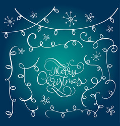 Set of vintage flourish doodle garlands christmas vector