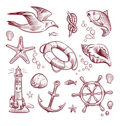 sketch marine set sea ocean voyage lighthouse vector image