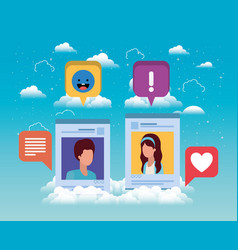 Social media couple acount template vector