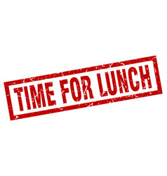 square grunge red time for lunch stamp vector image