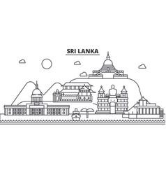 Sri lanka architecture line skyline vector