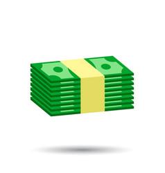 Stacks cash in flat design on white background vector