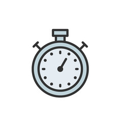 stopwatch timer chronometer flat color line icon vector image