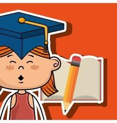 Student girl notebook pencil vector