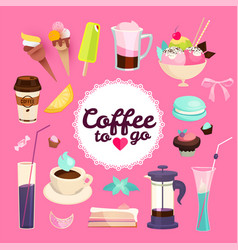 sweets cafe elment set sweets pastry coffee and vector image