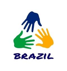 Three hand print icon - Brazil flag colors vector image
