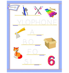 Tracing letter x for study english alphabet vector