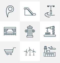 Urban icons line style set with location pin vector