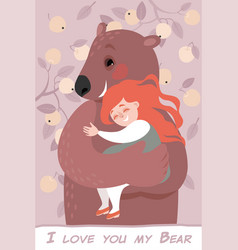 valentines day card with happy girl and funny bear vector image