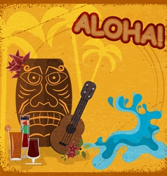 Vintage postcard with featuring hawaiian masks vector