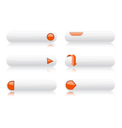White buttons with orange signs menu interface vector