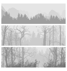 Wild forest horizontal banners vector