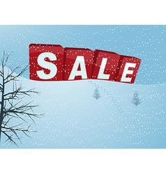 Winter sale in 3D letters over snow hill vector