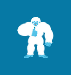 Yeti thumbs up bigfoot winks emoji abominable vector