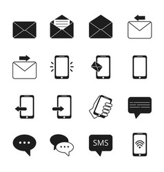 business icon set of communication symbols phone vector image vector image