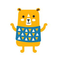 cute orange teddy bear in blue vest standing vector image vector image