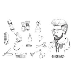 hand drawn barbershop set collection accessories vector image vector image