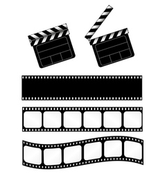 movie clapper with 3 film strips vector image vector image