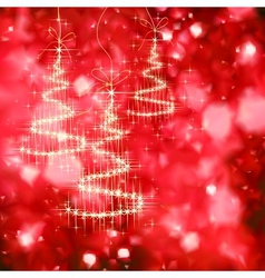 Shining Christmas tree with golden sparkles vector image
