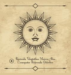 sun retro emblem vector image vector image