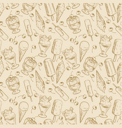 vintage dessert pattern - sketch ice cream and vector image vector image