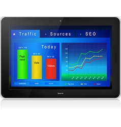 Web site analytics on tablet PC screen vector image vector image