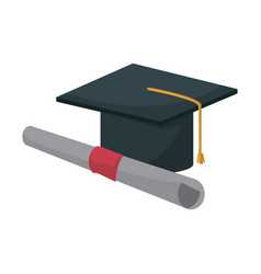 Graduation cap and diploma education image vector