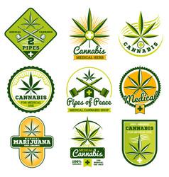 marijuana hashish drug medicine logos and vector image vector image