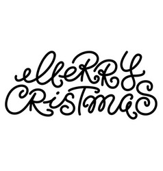 merry christmas text hand written type lettering vector image
