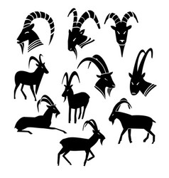 monochrome wild goat silhouettes collection vector image vector image