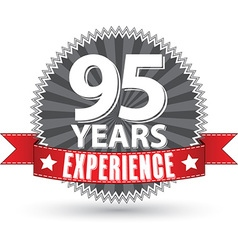 95 years experience retro label with red ribbon vector image