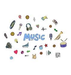 Colored Music doodles vector image