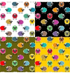 Colorful Seamless Sheep Pattern vector image