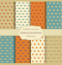 fish and seafood seamless backgrounds vector image vector image
