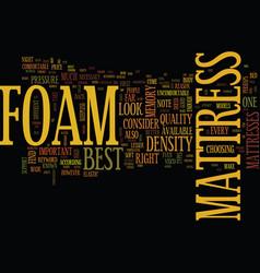 Foam mattress text background word cloud concept vector