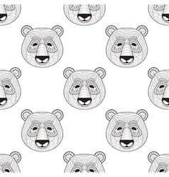 Head Panda seamless pattern in zentangle style vector image