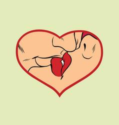 man and woman kissing love heart vector image vector image