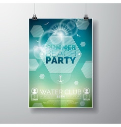 Party flyer poster template on summer beach theme vector
