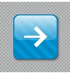 Right arrow icon glossy blue button vector