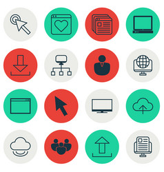 set of 16 web icons includes followed website vector image