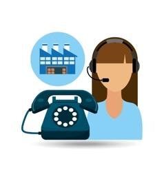 Call centre woman working warehouse merchandise vector