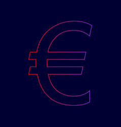 euro sign line icon with gradient from vector image