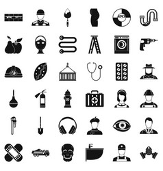good occupation icons set simple style vector image