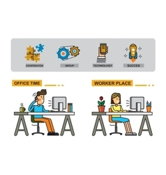 man and woman in office vector image vector image