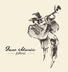 man playing trumpet vintage drawn vector image