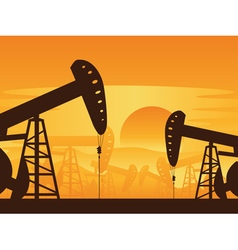 Oil Pump at Sunset7 vector image