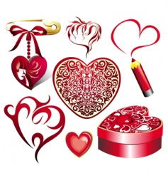 valentine set of elements vector image vector image