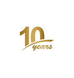 10 years anniversary elegant gold line vector