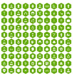 100 barber icons hexagon green vector
