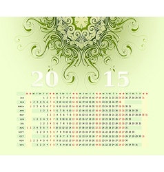 2015 calendar horizontal row vector image